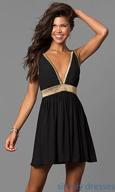 Deep V-Neck Short Homecoming Dress with Cut Out Back