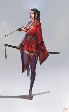 Samurai, ㅇㅇ ㅇㅇ on ArtStation at https://www.artstation.com/artwork/samurai-09997846-73ae-484f-b50a-8432748dd946
