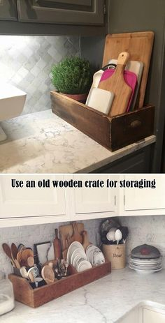 Use an old wooden crate to storage cutting boards or other kitchen items rustic home decor Cool and Rustic Wood Projects for Your Kitchen Old Wooden Crates, Wooden Diy, Kitchen Items, Home Decor Kitchen, Rustic Kitchen, Decorating Kitchen, Diy Kitchen, Kitchen Interior, Easy Kitchen Updates