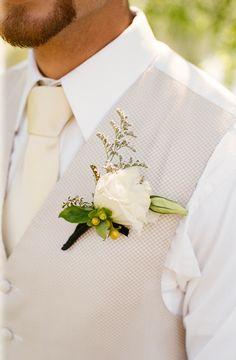 Green and White Boutonniere