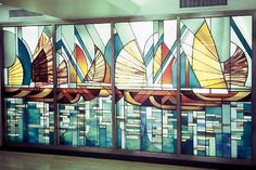 Commission: JUNKS - Formerly Located at Barclays Bank. Aberdeen, Hong Kong. Materials: leaded glass, 3 dimensional layered glass. Dimensions: 4m x 2m © Kristin Newton