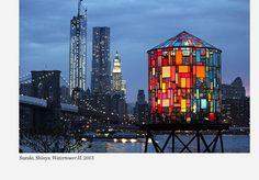 Tom Fruin's Watertower next to Brooklyn Bridge (2013) - made of upcycled plexiglass panels