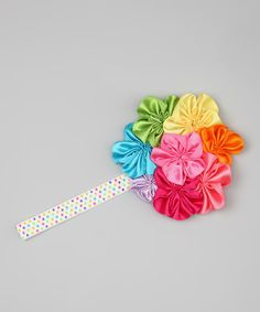 Take a look at the Lime & Pink Yoyo Flower Headband on #zulily today!