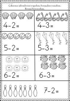 Kindergarten Addition and Subtraction Worksheets Addition And Subtraction Worksheets, Literacy Worksheets, Math Literacy, Free Printable Worksheets, Math Activities, Kindergarten Lessons, Kindergarten Writing, Kindergarten Addition, Montessori