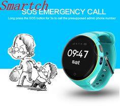 Smartch Children Smart Watch Waterproof Round Screen GPS SOS Wristwatch Remote Viewfinder for Kids Old man Watch Phone Emergency Call, Wearable Device, Portable, Smart Watch, Watches For Men, Smartphone, Kids, Children, Distance
