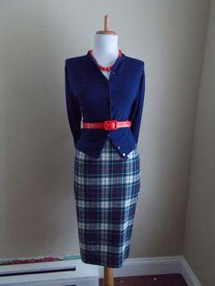 VINTAGE NAVY Blue Pendelton Wool PLaid Straight Fitted Knit Pencil Skirt. via Etsy.