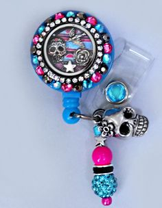 DELUXE Sugar Skull Retractable Badge holderGorgeous by Badgetopia