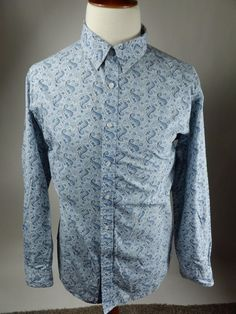 Daniel Cremieux Premium Long Sleeve Button Front Blue Paisley Shirt Men XXL 2XL #DanielCremieux #ButtonFront