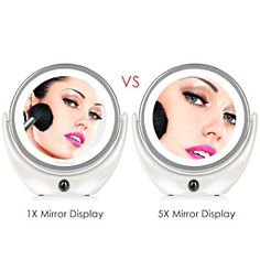 BROADCARE Makeup Mirror 1x/5x Magnification Double Sided LED Lighted Vanity Cosmetic Mirror-compact, lightweight, elegant sleek white finish, 1x to view whole face, 5x to view details-eyes/lips/tweeze, 360 rotation w/adjustable angles, LED lights provides *natural light, on/off LED switch, included USB cable- charge to computer or 5V adapter, mirror will take 5 hours to be fully charged & last up to 6 hours of use, travel size, 6.7 x 7.1 x 2.4 inches, 11.2 ounces, Amazon