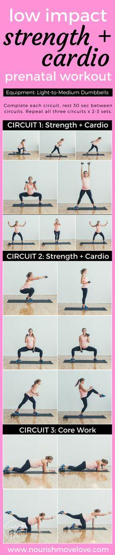 Low Impact Strength + Cardio Prenatal Workout | www.nourishmovelove.com