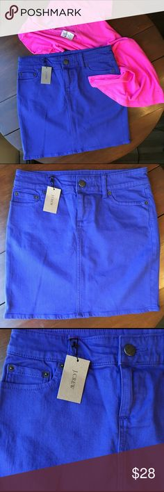 NWT J. Crew Skirt J. Crew Skirt.  Denim material in a royal blue.  Perfect for Summer!! Zip front with button and five pocket design.  Classic and timeless!!  Size: 0. NWT!!!!! J. Crew Skirts Midi