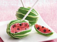 Watermelon Cake Pops--Enjoy these watermelon cake pops made with chocolate, white cake and vanilla frosting – a beautiful dessert.