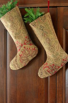 Red and Gold Tapestry Christmas Stocking - Elegant Christmas Stocking - William Morris