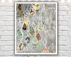 """Raindance"" PAPER PRINT - gray and yellow wall decor. TITLE - RAINDANCE (signed archival giclee print on acid-free cotton paper. white border for framing purposes as pictured.) A stormy gray background with multiple layers of detail, brought to life by colorful patterned rain drops and illustrated details. I created the original mixed media painting that this print depicts by using acrylic paint, watercolor, alcohol ink, found paper, white out pen, and micron pen."