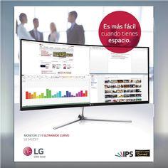 """""""Los monitores ultra anchos los habilitamos para  video juegos y para ver películas en un espacio más grande, pero a la vez, esto puede ser un área  para trabajar en tareas múltiples de una manera más práctica.""""Jay Suarez, Representante de Marketing LG"""