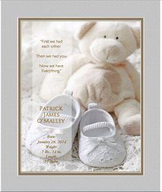 "Personalized ""Newborn's Teddy Bear"" -13 x 16 Framed HD Print With Digital Mat"