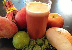 Ingredients: 1 large radish 1 apple 1/2 jicama 1 lime, peeled 1 handful cilantro Pinch sea salt, optional