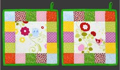 Colorful quilted pot holders with owls