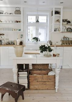 25 Best Farmhouse Kitchen Island with Open Shelves Furniture - Daily Home List Beautiful Kitchens, Home, Kitchen Remodel, House Interior, Kitchen Dining Room, Home Kitchens, Cottage Kitchens, Kitchen Style, Kitchen Design