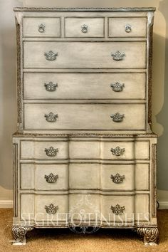 traditional chest of drawers finished in antique silver