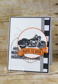 One Wild Ride stamp set from Stampin' Up! is perfection for the motorcycle riders in your life. Create a wild ride card for your riding friend with this set Masculine Birthday Cards, Birthday Cards For Men, Masculine Cards, Boy Cards, Cute Cards, Scrapbooking, Scrapbook Cards, Stamping Up Cards, Fathers Day Cards