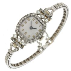 This is a beautiful Antique Art Deco Solid White Gold Diamond Bracelet Watch. x - Made with Platinum & Yellow Gold. Stone Diamond - Round & French - H I - (approx). Antique Bracelets, Antique Jewelry, Vintage Jewelry, Antique Art, Antique Watches, Vintage Watches, Sea Glass Jewelry, Crystal Jewelry, Art Deco Jewelry