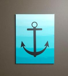 Ombre Anchor Canvas by Sarah Owens for Warehouse. I think I'd do a different image then an anchor Mini Canvas Art, Diy Canvas, Canvas Ideas, Sand Crafts, Seashell Crafts, Diy Wall Art, Diy Art, Anchor Painting, Anchor Canvas Paintings