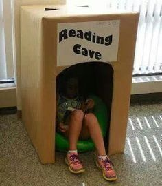 Teach Your Child to Read - Who didn't love a big box as a kid? Love this idea sunnydaypublishin. - Give Your Child a Head Start, and.Pave the Way for a Bright, Successful Future. Classroom Organization, Classroom Management, Book Corners, Elementary Library, Reading Centers, Library Displays, Future Classroom, Ks1 Classroom, Classroom Setup