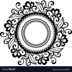 Beautiful Deco Floral Circle vector image on VectorStock Mandala Artwork, Mandala Painting, Page Borders Design, Border Design, Mandala Pattern, Mandala Design, Buddha Canvas, Design Basics, Islamic Art Calligraphy