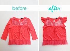 Turn a long sleeve shirt into a flutter sleeve shirt. www.makeit-loveit.com #clothing #refashion