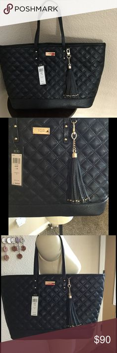 """New BCBG Quilted Tote, Black New w tags, see pics, multiple pockets, clip closure, interior has one zipper pocket and two slip pockets, removable tassel, 8"""" shoulder drop. BCBG Bags Totes"""