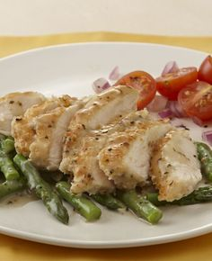 Lemon, basil and oregano brighten up the flavor in the pan sauce for chicken cutlets and asparagus. An easy chicken dinner!