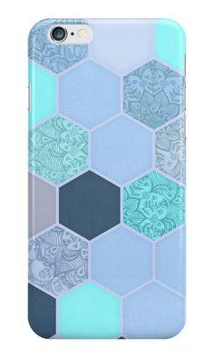 """Denim Blue, Aqua & Indigo Hexagon Doodle Pattern"" iPhone Cases by micklyn | Redbubble"