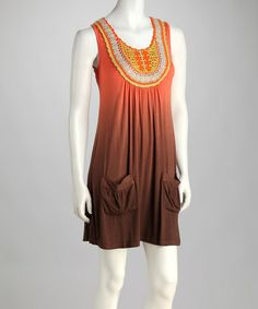 Another great find on #zulily! Orange Crocheted Ombré Sleeveless Dress by Blue Tassel #zulilyfinds