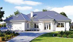 Projekt domu z poddaszem Willa Parkowa 5 o pow. 173,6 m2 z obszernym garażem, z dachem wielospadowym, z tarasem, sprawdź! Modern Bungalow Exterior, Modern Bungalow House, Bungalow House Plans, Dream House Exterior, Dream House Plans, Family House Plans, Flat House Design, Best Modern House Design, Kerala House Design
