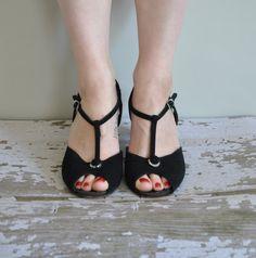 vintage 1950s heels / 50s black suede with rhinestones heels / Paper Moon. $85.00, via Etsy.