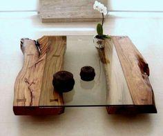 Wood & glass coffee table