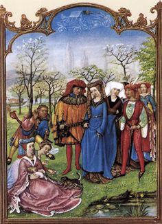 Le fatiche di Aprile: corteo nuziale in un prato - Breviario Grimani - manoscritto miniato - scuola Gand-Bruges - 1490-1510 -  Venezia - Biblioteca Nazionale di San Marco.