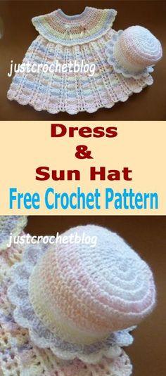 Free baby crochet pattern for dress-sun hat from #justcrochetblog #crochet #crochetbaby