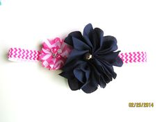 6-12 Months pink chevron headband with two flowers READY TO SHIP!!