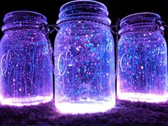 "All you need to create these fantastic looking night lanterns is some jars, glow stick and diamond glitter. The process is as easy as it can be – open the jar, shake the content of the glow stick into it and add the diamond glitter. Close the top of the jar with a lid and shake it well. Enjoy a romantic backyard dinner under the light of the ""Fireflies"" in the jars!"