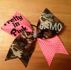 piety in pink dangerous in camo cheer bow  cheerbow by Bellabows76, $14.00