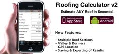 Roofing calculator app helps contractors, realtors and home inspectors estimate roof replacement cost in less than 1 minute. Available for iPhone and Android. Download today!