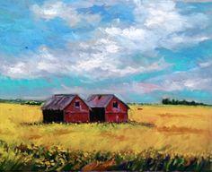 Original Oil Painting Field landscape Canada