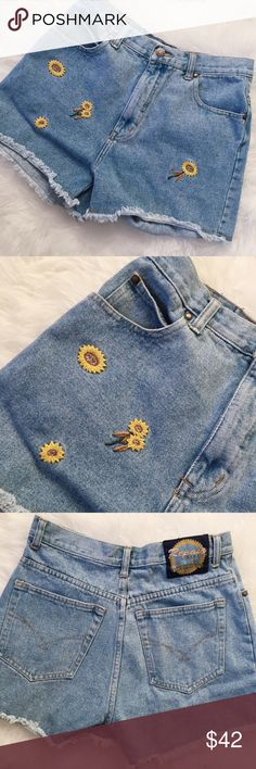 """Vintage High Waist Denim Sunflower Shorts Vintage sunflower cutoff denim shorts. Tag reads size 9/10, measurements below. Features high waist silhouette, sunflower embroidery, and cutoff style with distressed hem. No trades, no modeling.  14"""" waist, 11"""" rise, 13.5"""" outseam, 3.25"""" inseam.  A11 Repair Shorts Jean Shorts"""