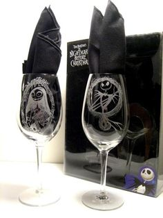 Jack and Sally wine glasses!! Someone please purchase !!