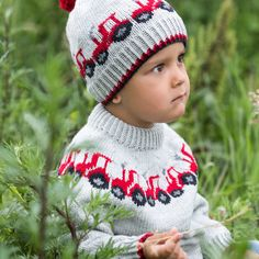 GG19-24 Traktor genser & lue lys grå | Gjestal Crochet Hats, Design, Fashion, Threading, Knitting Hats, Moda, Fasion, Design Comics