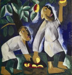 Natalia Goncharova,Крестьяне,собирающие яблоки.1911г.