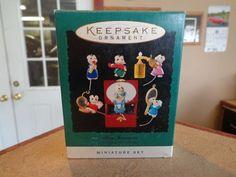 Hallmark Ornament Set of 6 Mini Tiny Treasures Mice New New in Box