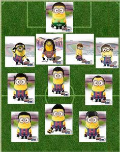 Line-up of FC Barcelona minions, given my daughter loves this film at the moment only seemed right that I include this! Soccer Jokes, Soccer Fans, Play Soccer, Soccer Players, Soccer Stuff, Cristiano Ronaldo, Fc Barcelona Players, Minions Fans, Player Quotes